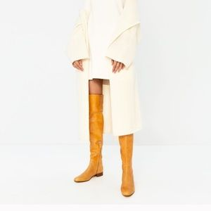 ZARA LEATHER OVER THE KNEE BOOTS YELLOW
